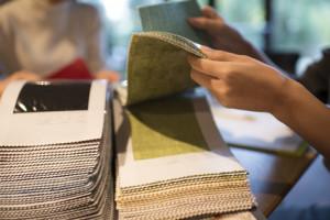 Sample textile swatches, fabric samples, Cocoa interior design