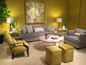 yellow living room, neoclassic design, furniture trends