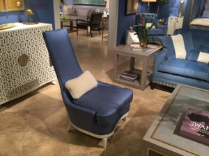 Royal blue chair in living room, Michael Gainey Signature Designs, interior design trends