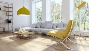Modern living room with yellow accents, Brevard interior decorating, MGSD