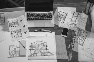 Black and white rendering of interior design plans, Cocoa, Fl interior designer, MGSD