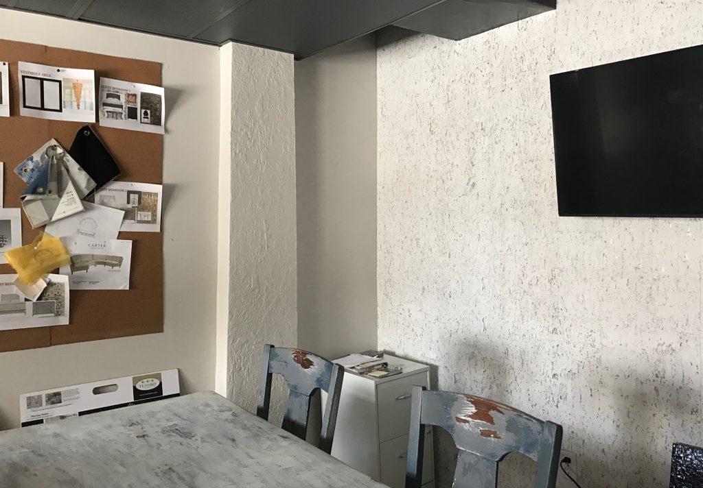 birch wallpaper on accent wall, Cocoa, Florida interior design studio, MGSD