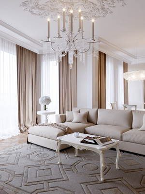 Living room in cream and gray with traditional design, interior design in Brevard, MGSD