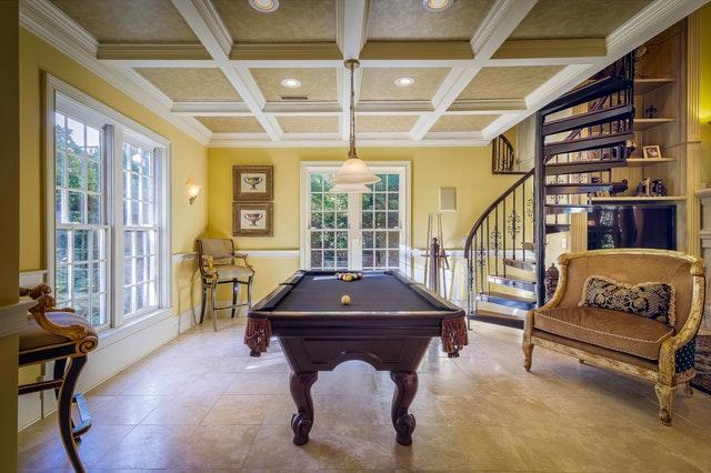 Pool table in great room, interior designer in Brevard, MGSD