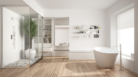 Minimalist white bathroom, bathroom interior design, MGSD