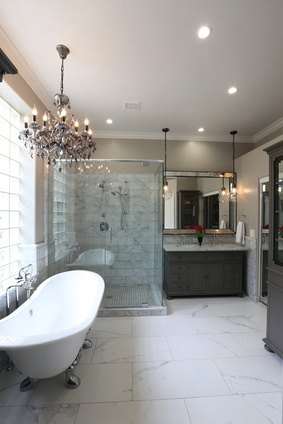 Luxury bathroom with chandelier over tub, bathroom interior design, MGSD