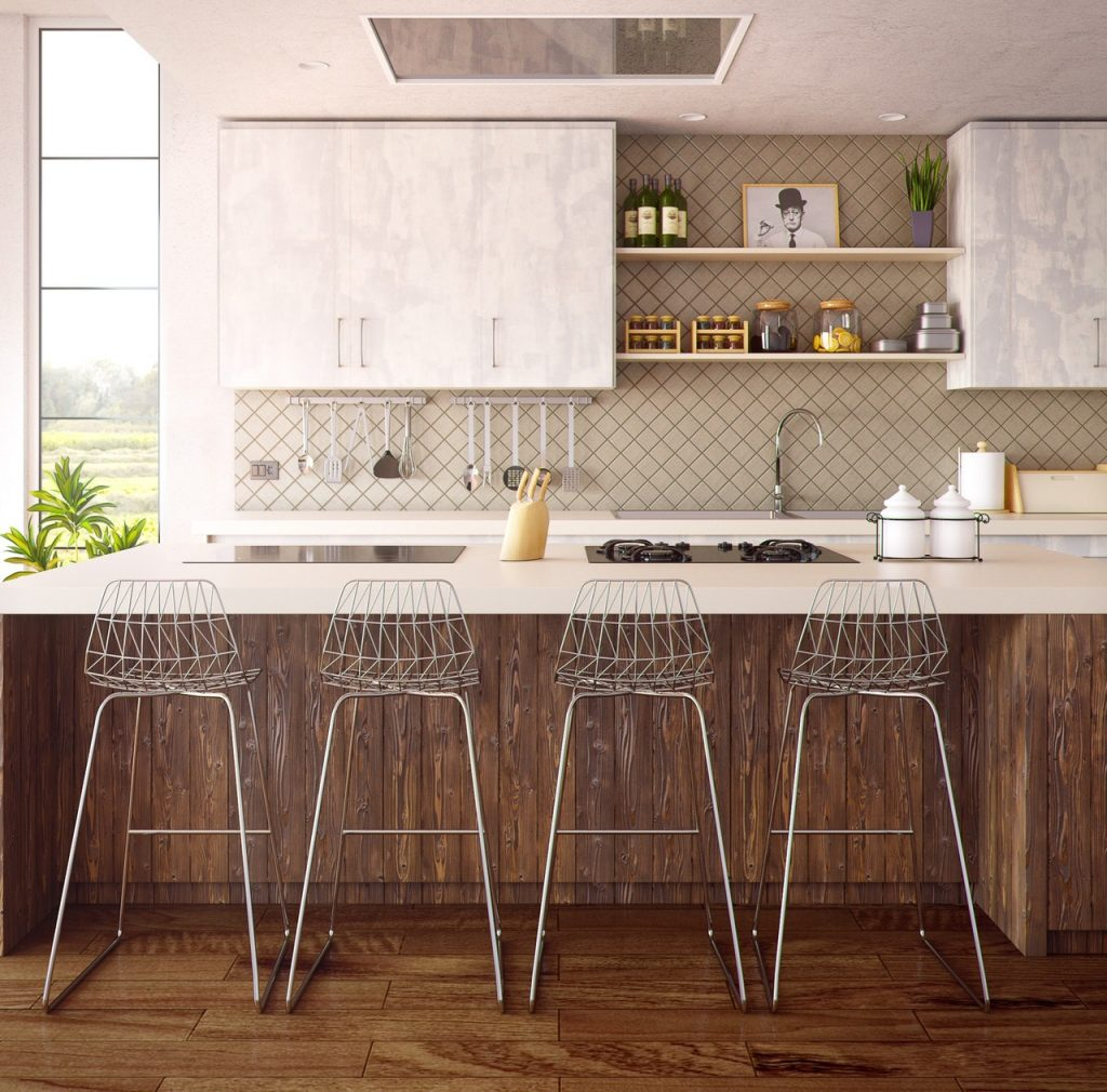 Farmhouse kitchen with island and metal stools, interior design twists, michael gainey