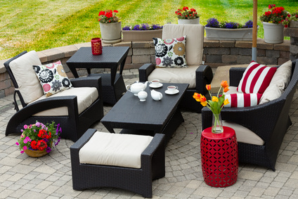 Patio Furniture in white and red, interior design in Cocoa, Florida, Michael Gainey