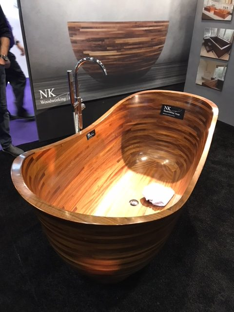 Teak soaking tub in bathroom display, Michael Gainey Signature Designs