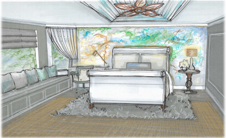 Bedroom hand drawing, Cocoa, Florida interior design, MGSD
