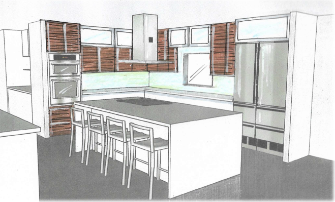 sketch rendering of gourmet kitchen, brevard interior design, victoria bellucci kellam, MGSD