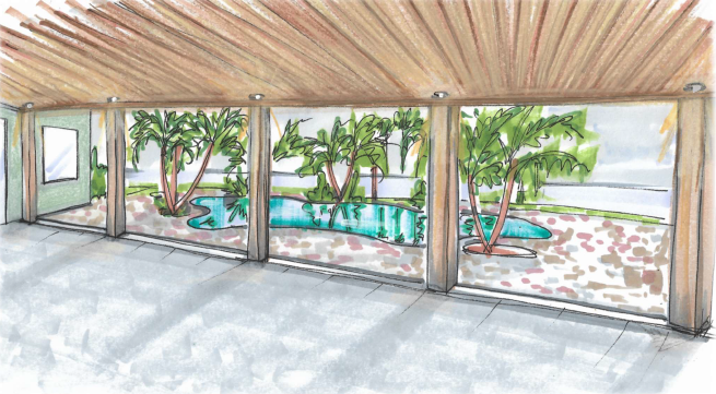 sketch rendering of living area leading to pool, brevard interior design, victoria bellucci kellam, MGSD