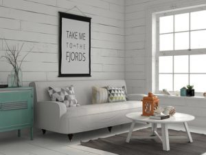 White living room of beach home, Central Florida interior design, Michael Gainey Signature Designs
