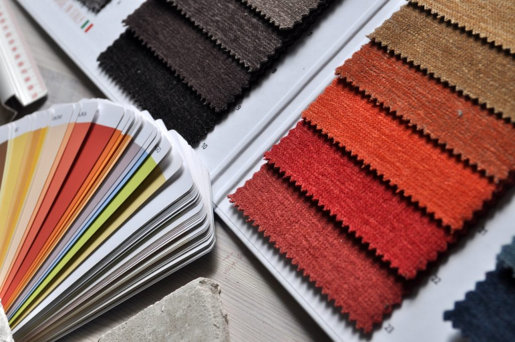 Fabric swatches and color chips for design, Brevard interior design studio, MGSD