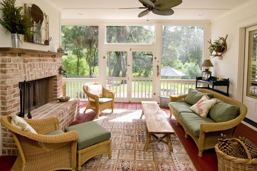 screen porch with fireplace and wicker furniture, interior decorating tips, MGSD