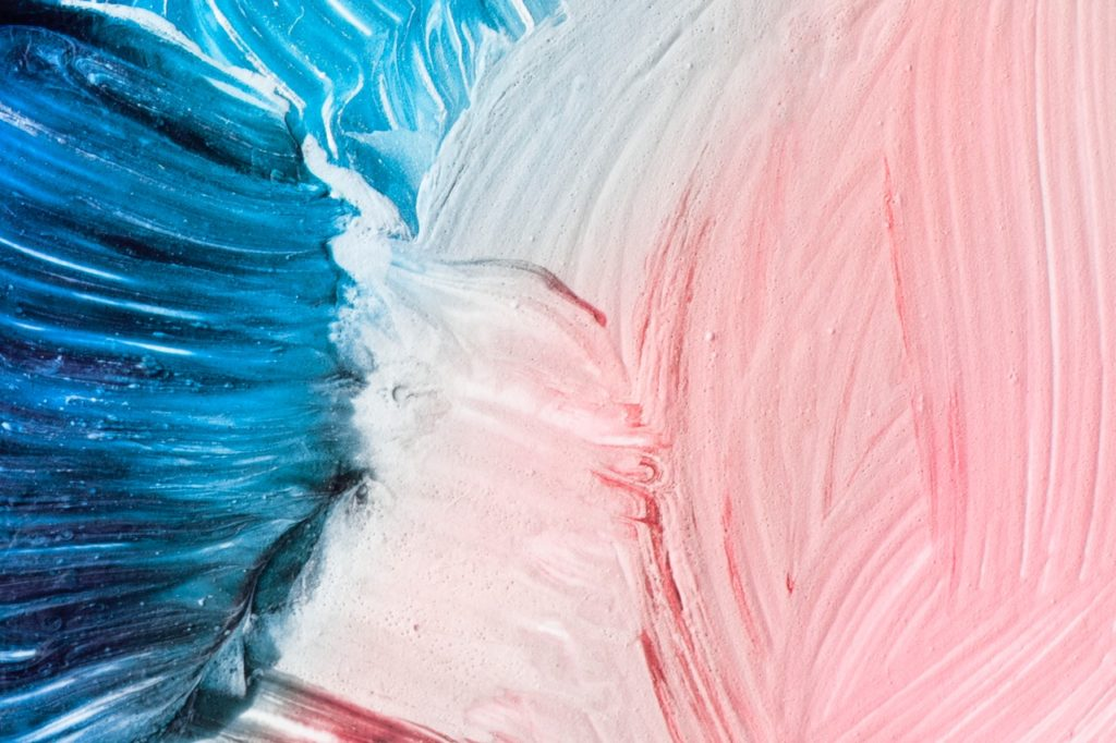 Blue and pink paint on canvas, interior decorating tips