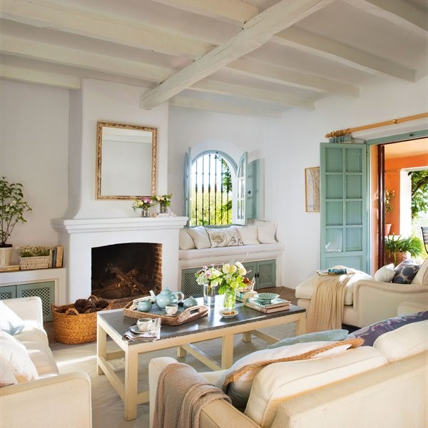 White living room with fireplace, MGSD, living room interior design