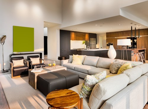 Neutral living room with sectional; Michael Gainey Signature Design; living room interior design