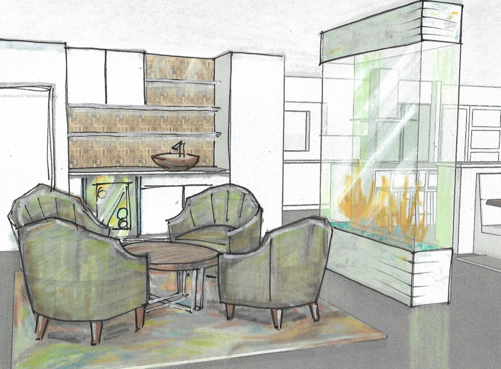 Rendering of den turned into open bar area; Victoria Bellucci Kellam; Indian river interior design; MGSD