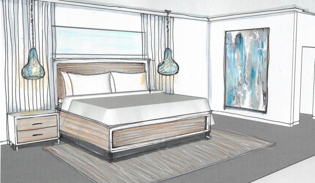 Rendering of inviting guest bedroom; Victoria Bellucci Kellam; interior design tips; MGSD