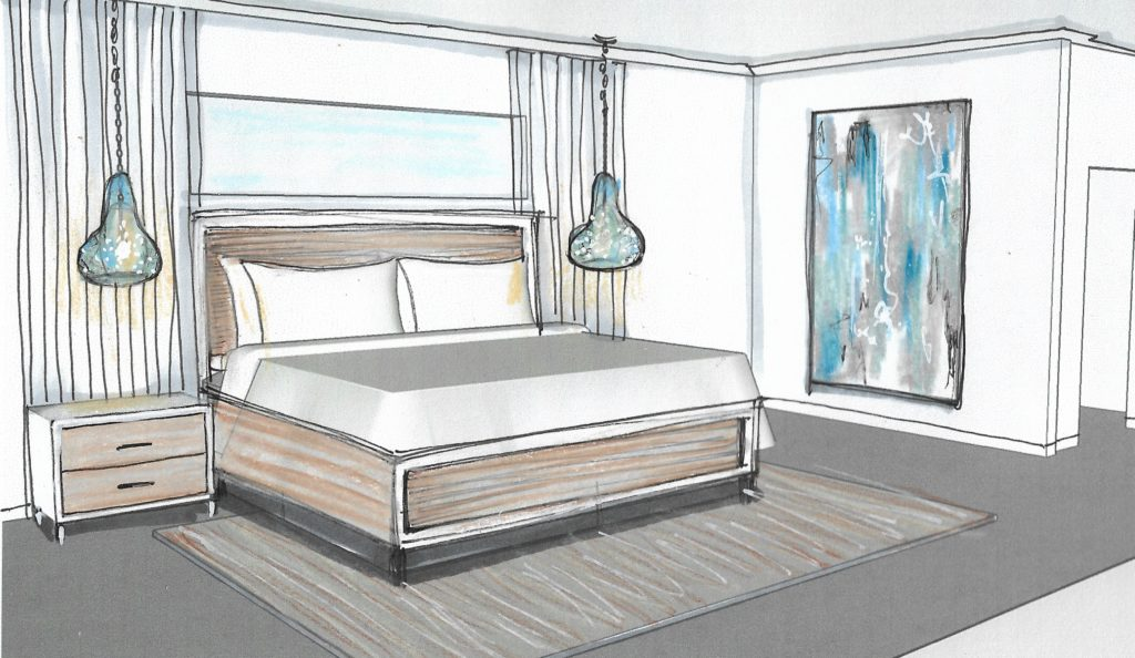 Rendering of guest bedroom; indian river interior design; Victoria Bellucci Kellam; MGSD