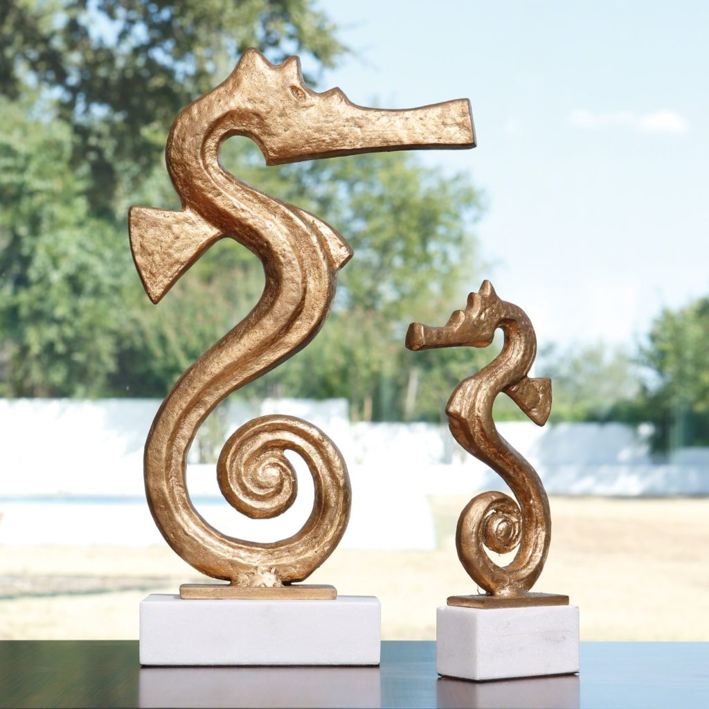 Large and small gold seahorse sculptures; choosing sculptures for interior design; MGSD