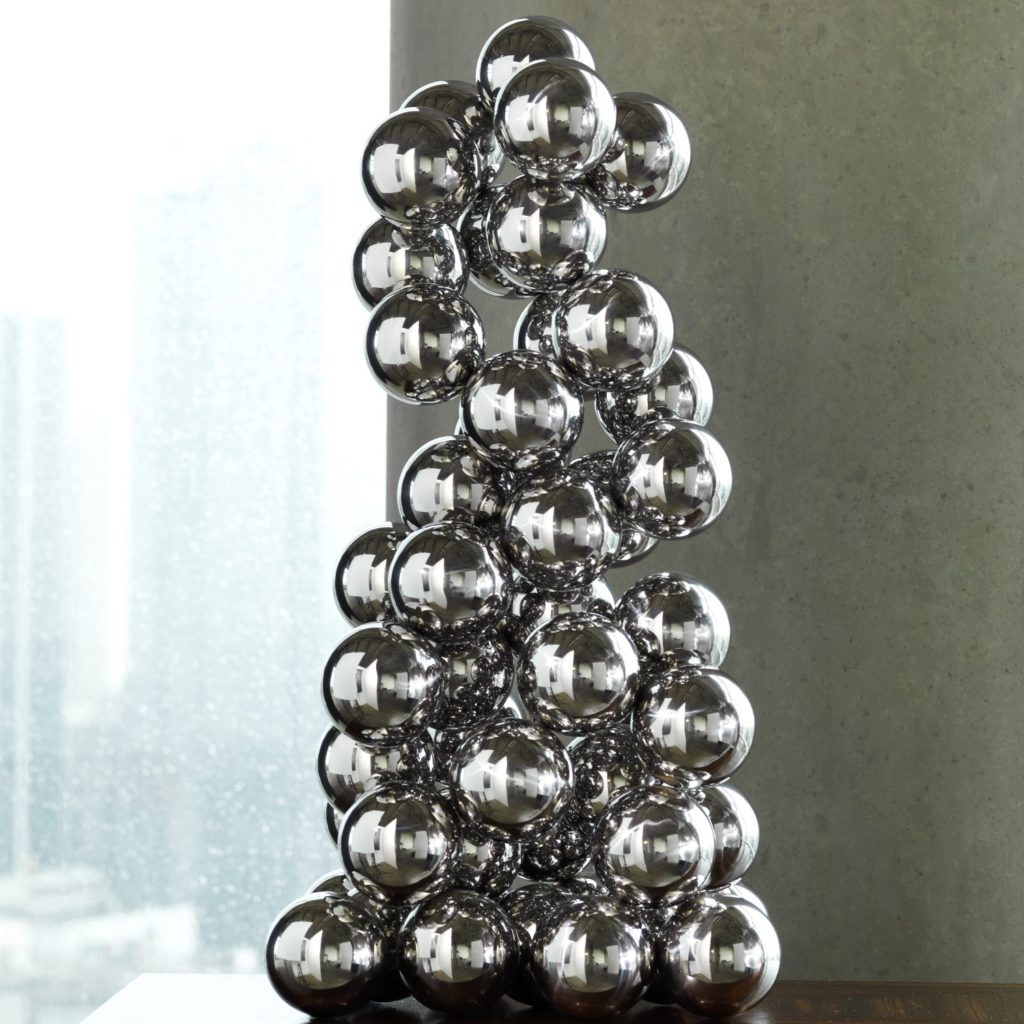 Sculpture of silver balls; choosing sculptures for interior design; MGSD