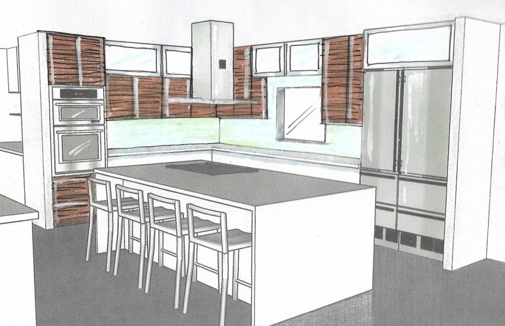 Rendering of kitchen remodel; Victoria Bellucci Kellam;  Indian river interior design; MGSD