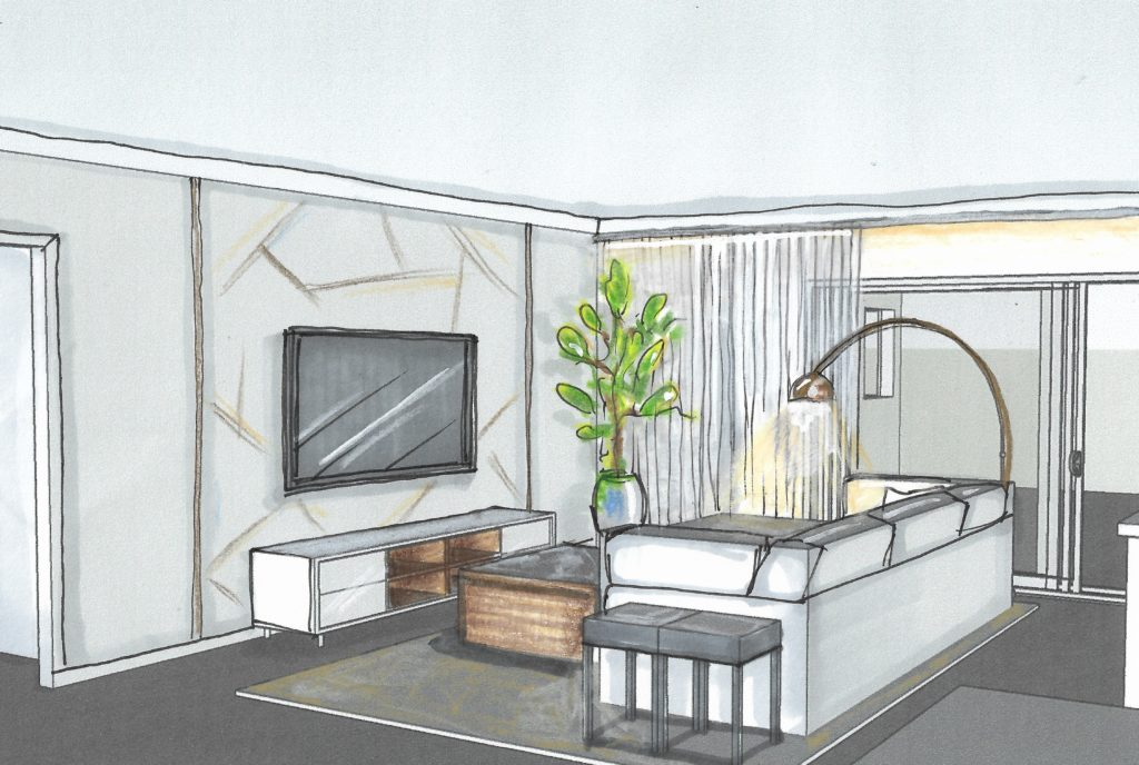 Rendering of television area; Victoria Bellucci Kellam;  Indian river interior design; MGSD