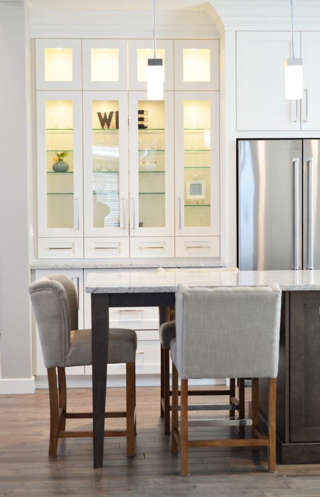 Kitchen with bar stools for island seating; interior design tips; MGSD