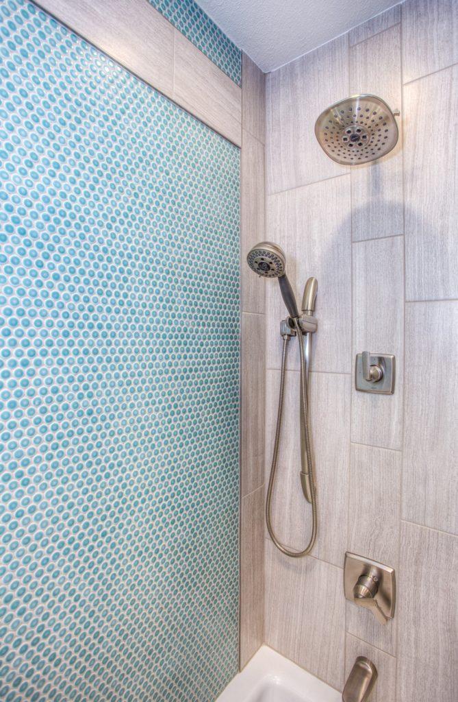 Porcelain tile in shower; Michael Gainey Signature Designs Melbourne FL
