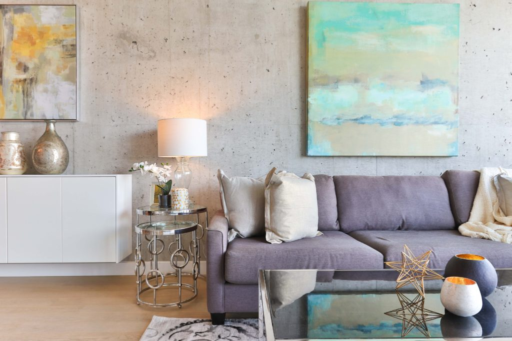 Living room in pastels with art on wall; art interior design; MGSD