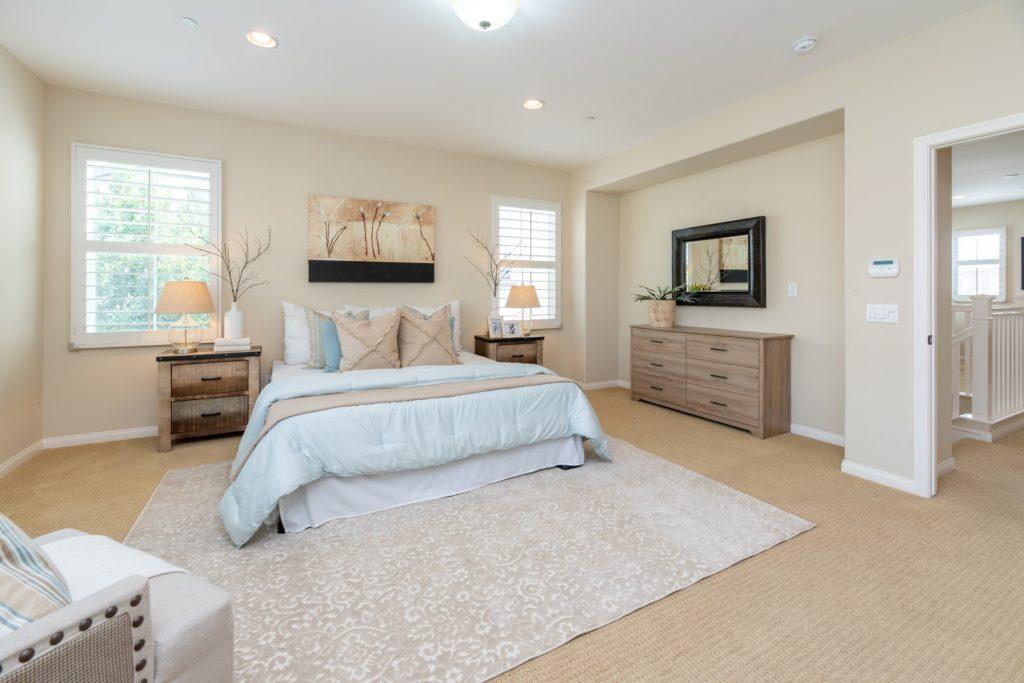 Neutral bedroom with beach tones, interior design in Viera Florida