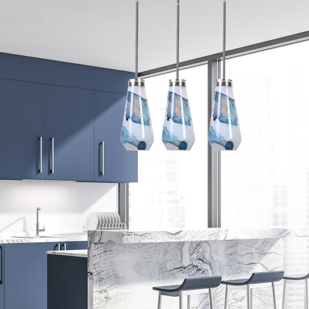 Modern kitchen with blue cabinets and pendant lights; Panatone color of the year 2020, Michael Gainey Signature Designs