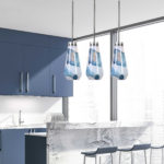 Modern kitchen with blue cabinets and pendant light, Panatone color of the year 2020, Michael Gainey Signature Designs