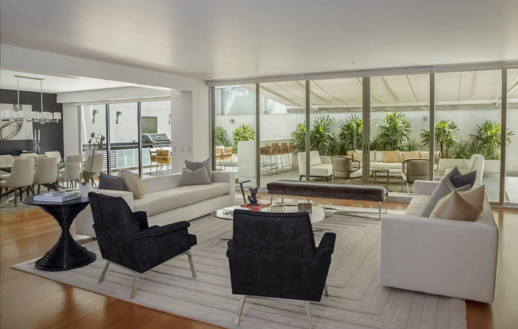 Open concept living area with patio; Melbourne interior design
