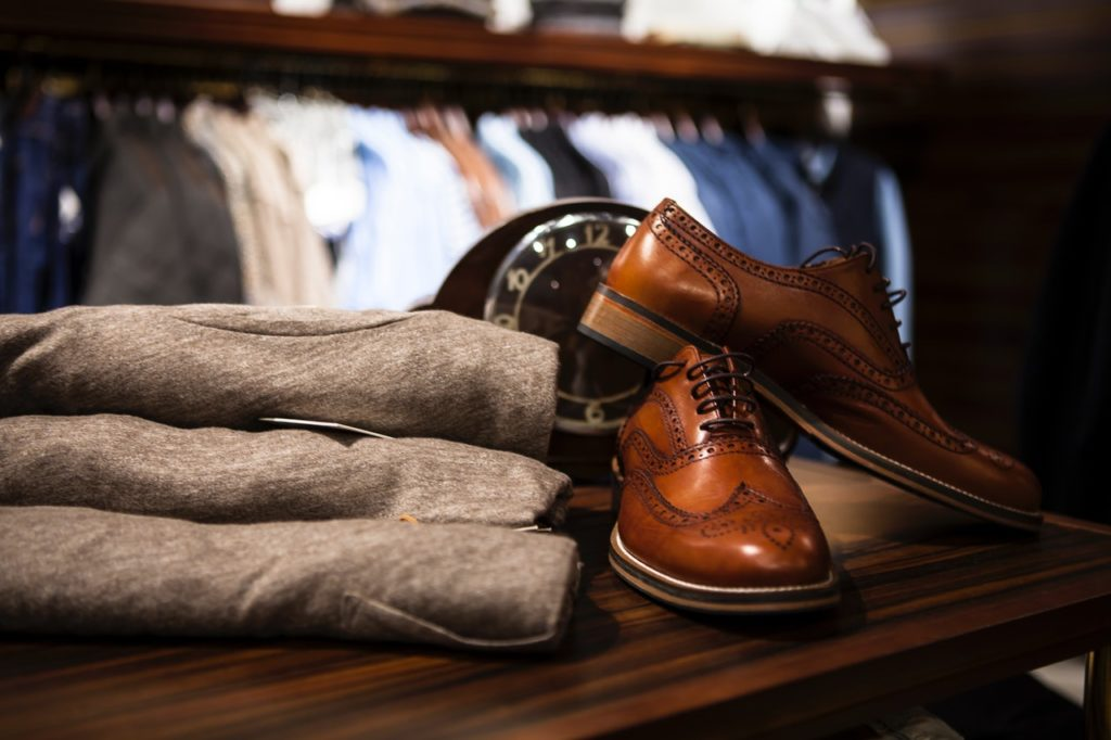 Men's shoes and clothes on shelf; source of design inspiration; MGSD