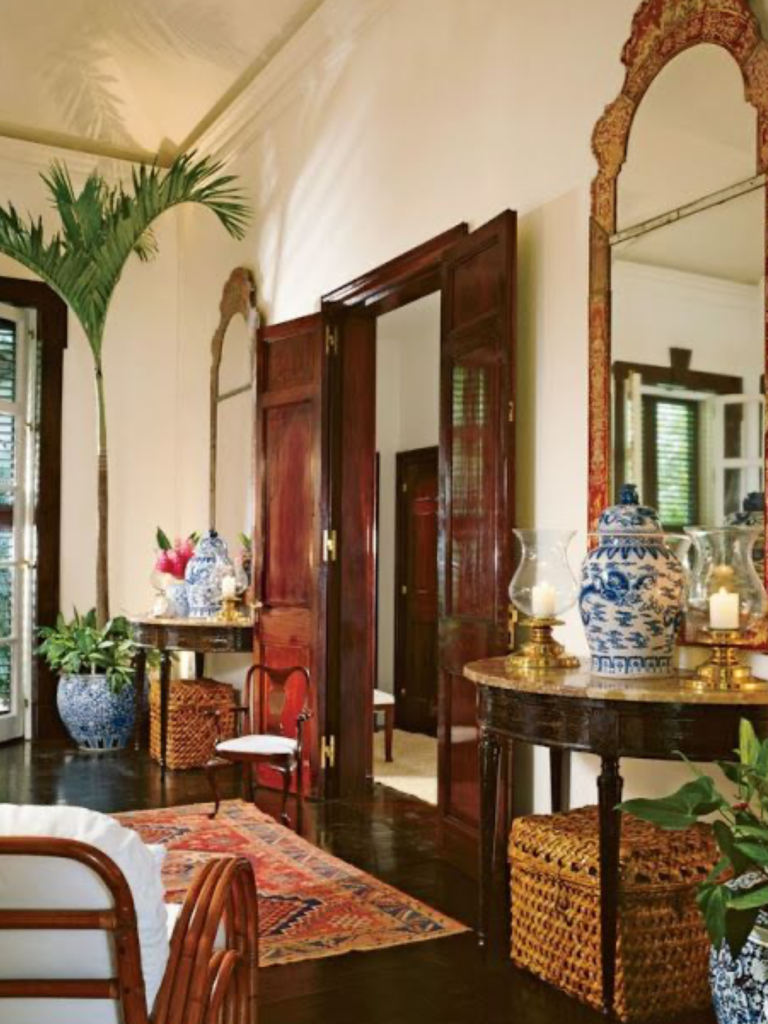 Foyer with British colonial interior design style; MGSD