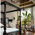 Bedroom with British colonial interior design style; MGSD
