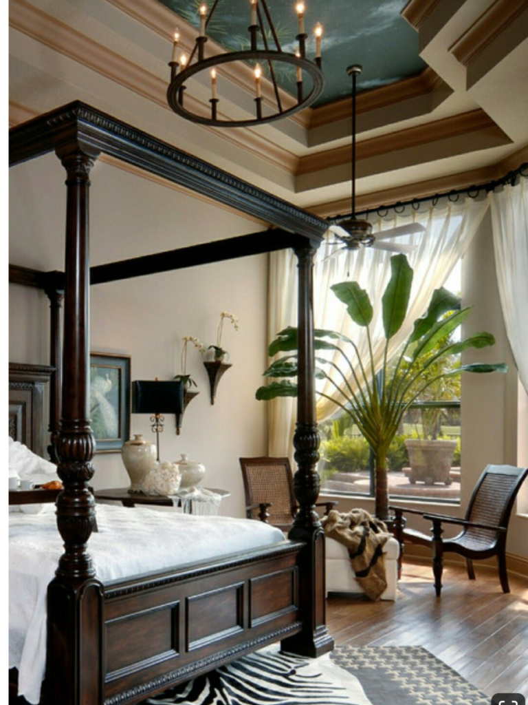 Bedroom with canopy bed and British colonial interior design style; MGSD