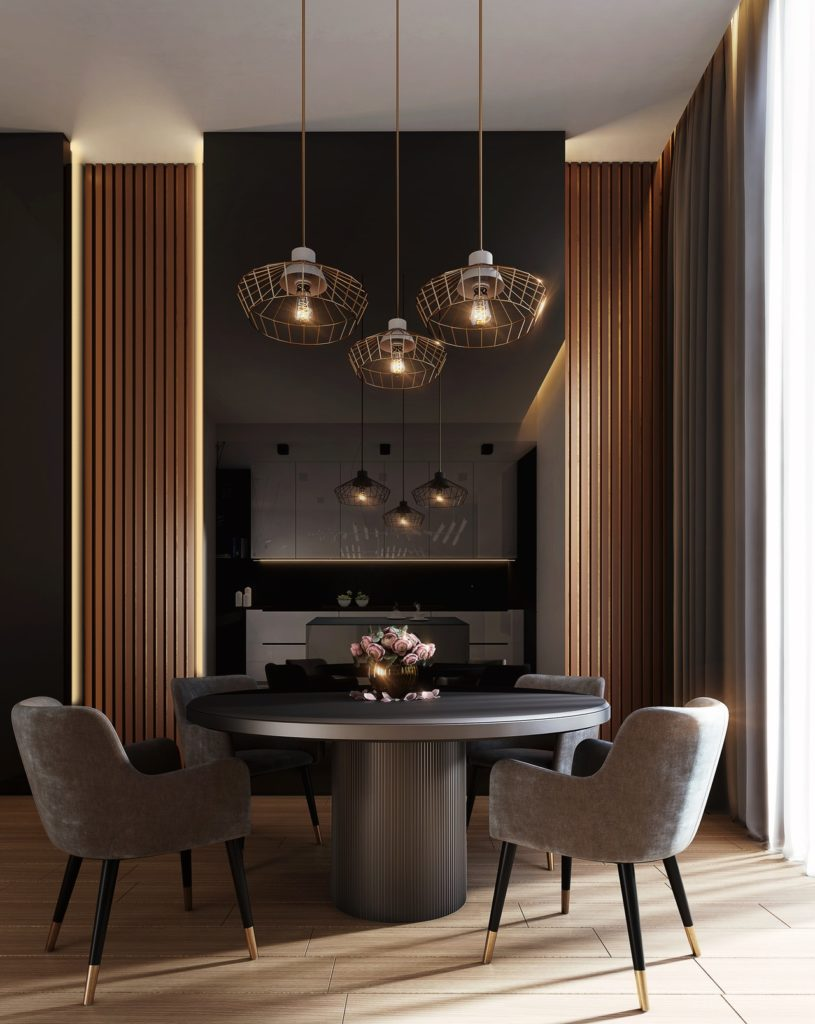 Dramatic dining room with table and chairs; MGSD