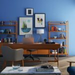 Office with blue wall; Michael Gainey Interior Design