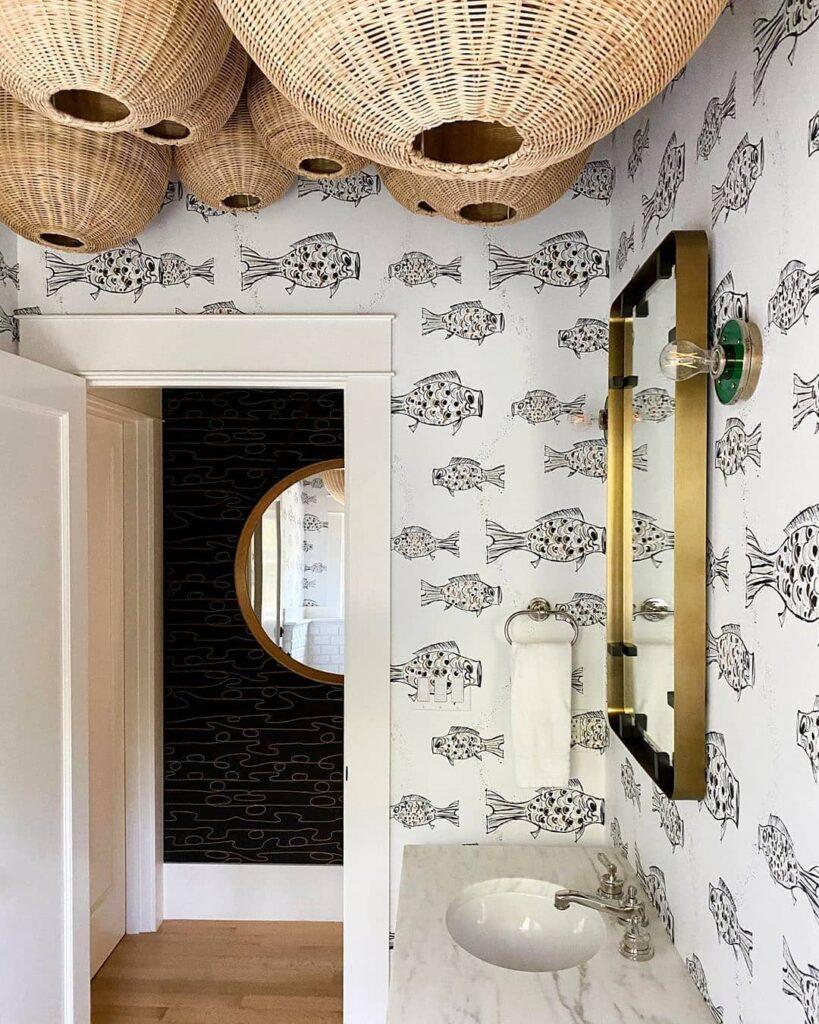 Bold walls in bathroom; bathroom interior design trend; Made Goods