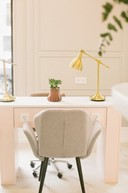 Office chair and desk; contemporary interior design, Michael Gainey Signature Designs