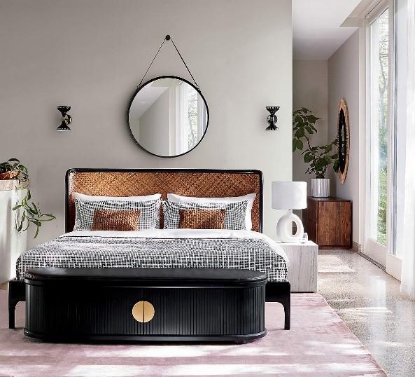 Rattan bed CB2, interior design trend, MGSD
