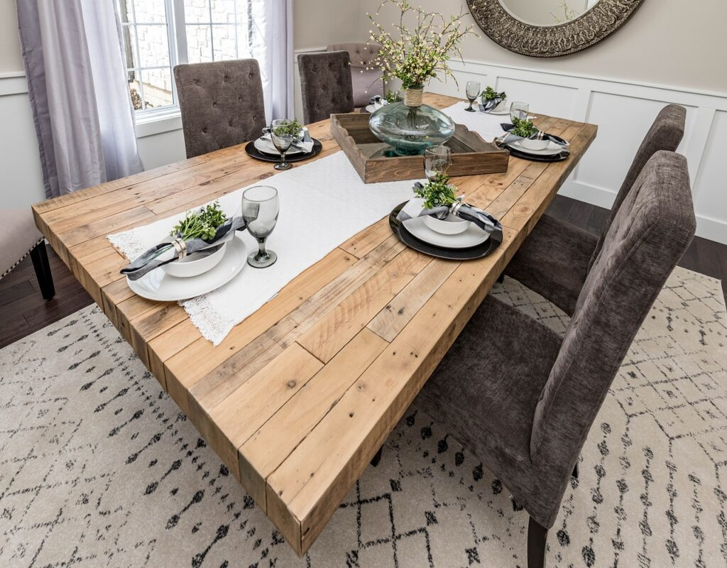 Rustic chic dining room, rugs and interior design, MGSD