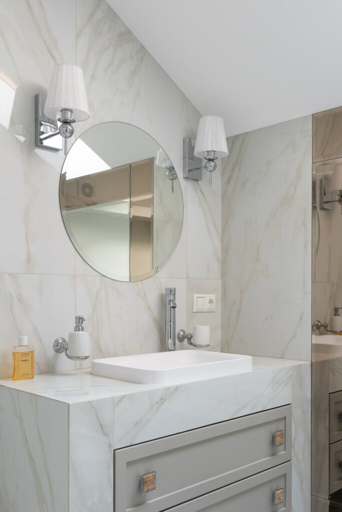 Bathroom vanity with square hardware; MGSD interior design