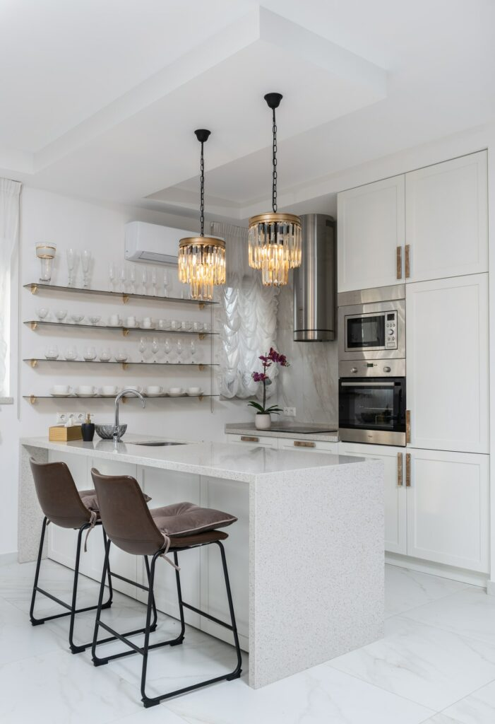Kitchen cabinets with elongated pulls; MGSD interior design
