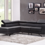 Living room with black sectional sofa